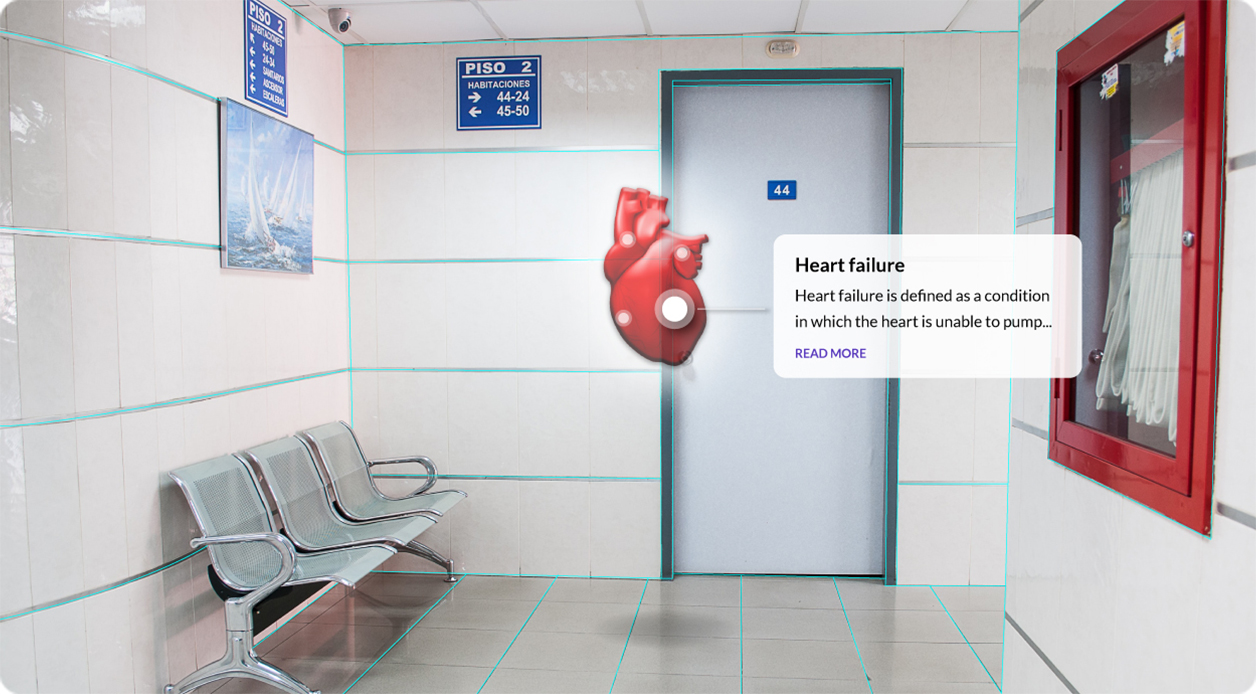 Hospital hallway with augmented reality layover indicating heart failure