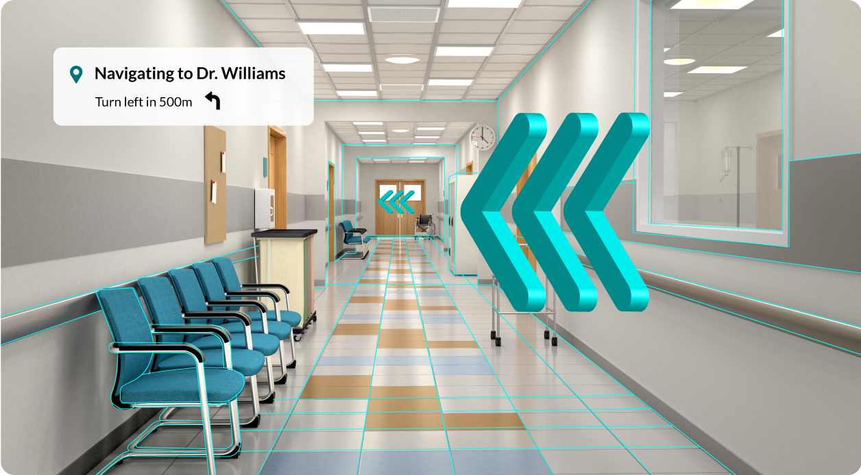 Augmented reality directions in a hospital hallway