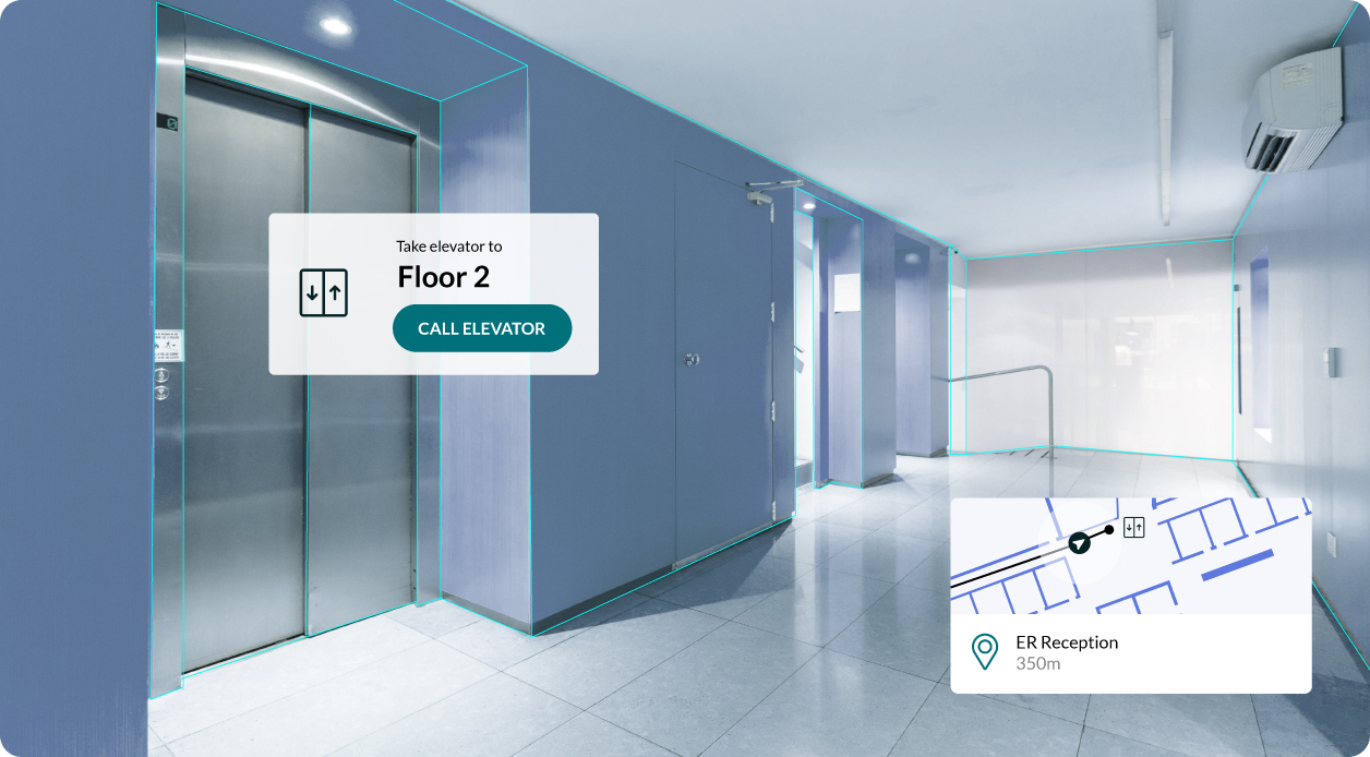 Augmented reality wayfinding overlay in a hospital indicating the user should take the elevator to floor 2