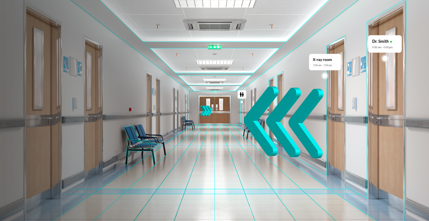 Augmented reality wayfinding arrows in a hospital