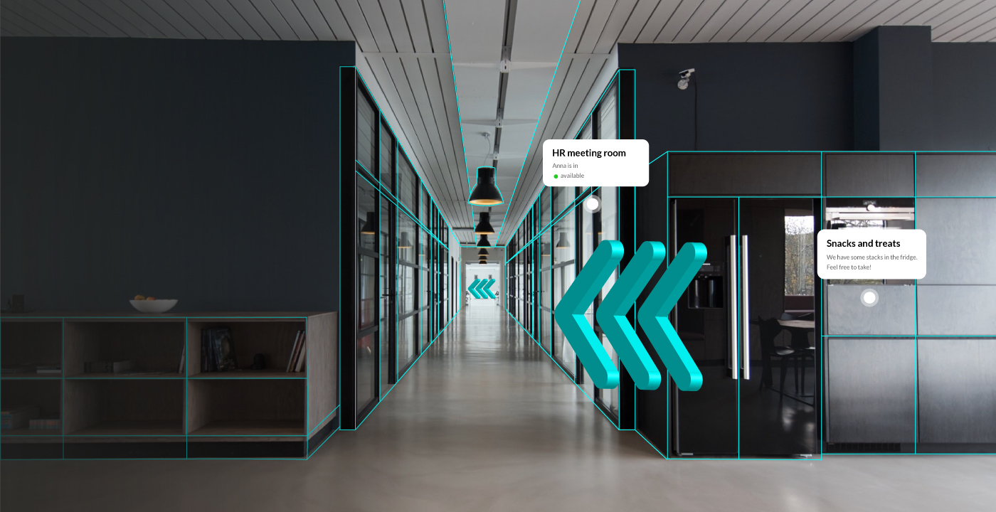 Augmented Reality wayfinding arrows in an office building