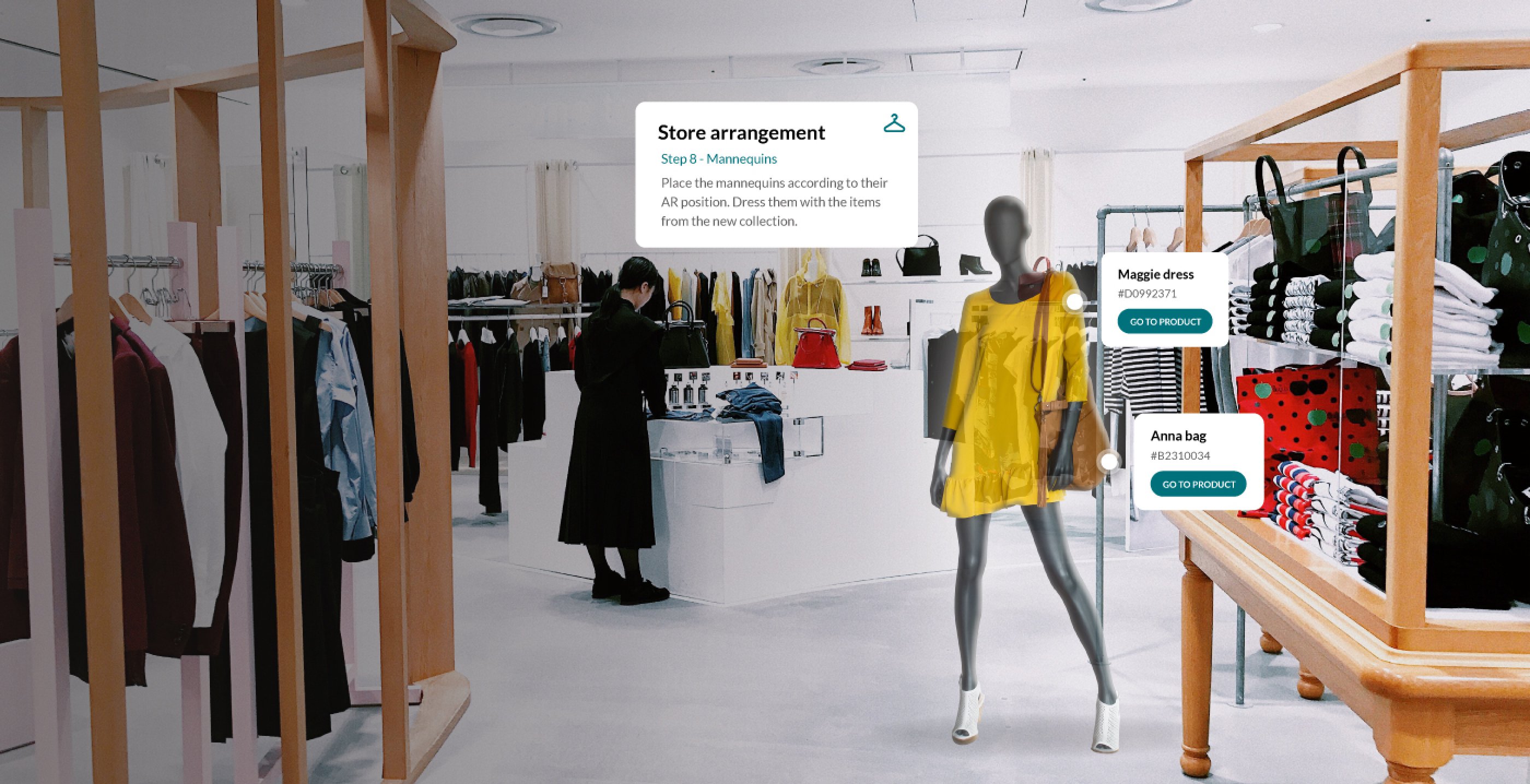 Augmented reality pop-ups indicating product numbers and mannequin dress-up in a retail store