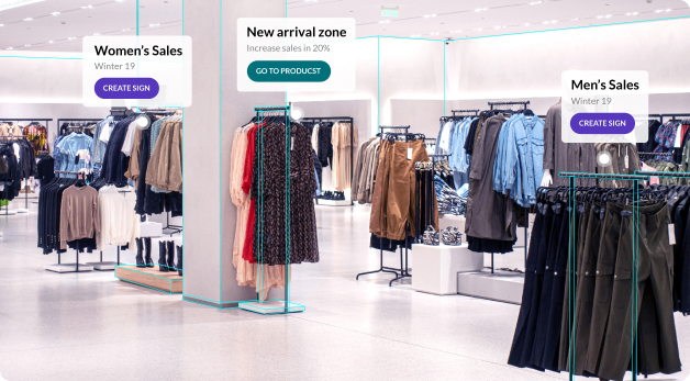 Augmented reality pop-ups indicating women's and men's clothing sales as well as a new arrival zone