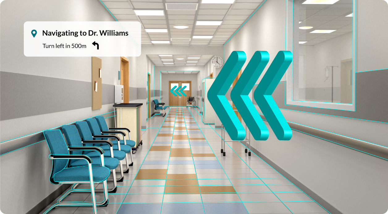 Augmented reality arrows wayfinding in a hospital hallway